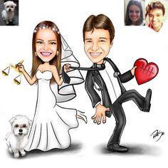 Caricaturas digitais, desenhos animados, ilustração, caricatura realista: Casal de noivos com mascote !