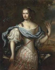Frances Teresa Stewart, Duchess of Richmond and Lennox (1647-1702), as Diana, she served as the model for an idealised, female Britannia. by Adrianus van Isselsteyn (Haarlem 1627/47-1684 Utrecht)