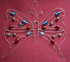 Red and Turquoise Butterfly - a beaded suncatcher glass beads: http://www.ecrafty.com/c-2-glass-beads.aspx