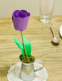 paper tulips with printable template and tutorial from ellinee diy