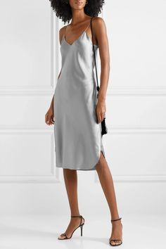 Stone Silk-charmeuse dress | Nili Lotan | NET-A-PORTER Modest Dresses, Plus Size Dresses, Dresses For Sale, Get Dressed, Jimmy Choo, Denim Midi Dress, Nili Lotan, Silk Slip, Santo Domingo