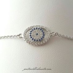 Evil eye bracelet. Sterling silver charm and chain