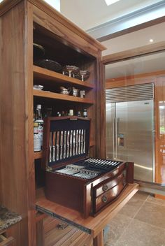 There's no better way to store your cutlery. Bespoke Kitchens, Bespoke Furniture, Cutlery, Liquor Cabinet, Bedroom, Detail, Store, Home Decor, Decoration Home