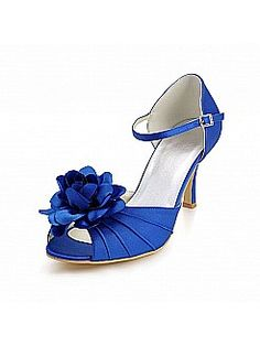 Open Toes High Heel Satin Wedding Shoes with 3D Flower - USD $81.98