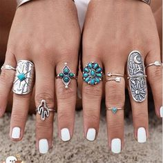 9pcs Vintage Bohemian Alloy Geometric Punk Rings