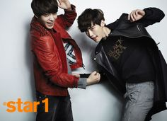 Lee Jong Suk and Kim Woo Bin in casual leather riding jackets