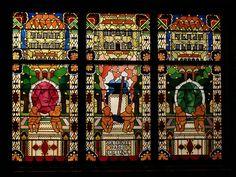 Allegory of Prosperity, Jozef Mehoffer 1933,Stained glass window ,KOMK Bank ,15 Szpitalna str,Old Town, Krakow, Poland