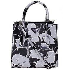 Preowned Prada Floral Saffiano Leather Twin Pocket Satchel- Grey Black (20.963.510 IDR) ❤ liked on Polyvore featuring bags, handbags, grey, tote handbags, black satchel purse, crossbody purse, black tote bag and black tote handbag