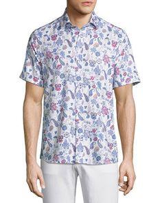 Paisley Short-Sleeve Sport Shirt, White/Blue