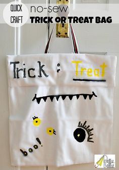 No-sew trick or treat bag from a pillowcase and the kids can decorate! #easy #tutorial #Halloween