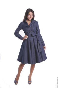 Купить Стильное Джинсовое Теплое Платье С Поясом - тёмно-синий, однотонный, ретро стиль