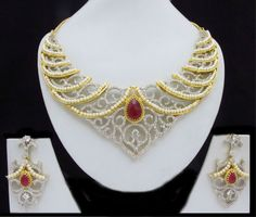 Indian CZ AD Ethnic Gold & Silver Tone Bollywood Necklace Bridal Swam…