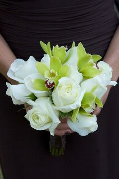 Wedding bouquet-  white roses and green Dendrobium orchid mix-Bridesmaids Bouquet - hand-tied bouquet style