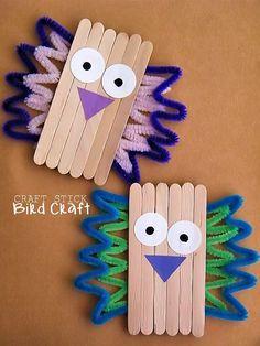 Craft Stick Bird Craft, Kid Craft