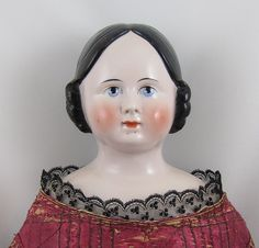 "Early Pink Tint China Head Lady Doll 29"" Unusual Huge Eyes from joysdolls on Ruby Lane"