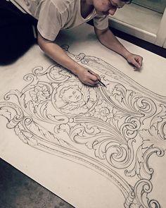 @ornamental_patterns #woodworking #ornaments#illustrator #ornament #woodcarving #tattooideas  #carving #scrollwork #acanthusleaf Wood Carving Patterns, Carving Designs, Home Confort, Ornament Drawing, Engraving Art, Sad Art, Filigree Design, Motif Floral, Mural Art
