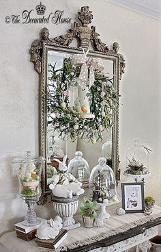 ~ A Little More Easter Decorating The Decorated House. Easter Decorating with Vintage and New. Bunnies and Cloches. Diy Easter Decorations, Decoration Table, Easter Centerpiece, Flower Decoration, Thanksgiving Decorations, Easter Art, Easter Crafts, Easter Ideas, Easter Food