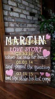 Love story pallet signs by Wendy, Speaks Creations