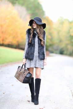 Love this style with the fur vest! | Fur Fashion | OOTD | Fall Looks | Black Fur Vest