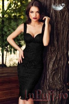 Rochie lunga lycra neagra broderie aurie