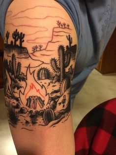 Desert Campfire (First Session) by Derrick Dove @ Double Deuce Tattoo Cary, NC I actually like it like this (somewhat unfinished) at least in regards to the the red fire on the black line work and shading