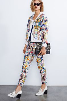 Rebecca Minkoff | Resort 2015 | 10 Multicolour floral suit and blue top