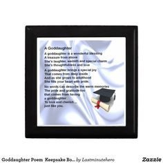Shop Goddaughter Poem Keepsake Box - Graduation created by Lastminutehero. Goddaughter Gifts, Detail Shop, Daughter Of God, Holiday Photos, Keepsake Boxes, Graduation Gifts, Gift Tags, Poems, Great Gifts