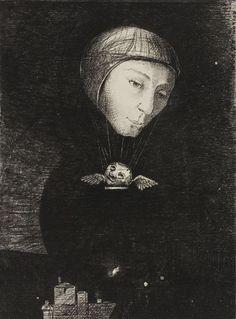 "Odilon Redon (French, 1840-1916), ""Sad Ascent,"" 1892."