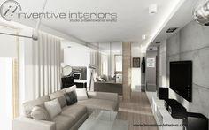 Projekt mieszkania Inventive Interiors - beton, beż i jasne drewno w męskim salonie