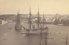 Man of War -HMS Marlborough- flagship of the Mediterranean fleet at anchor in the Grand Harbour of Valletta, Malta, sometime between 1858 and She was a 131 gun first rate converted to steam power while on the stocks. Uk Navy, Royal Navy, Hms Warrior, Steam Boats, Hms Victory, Ship Of The Line, Man Of War, History Images, Military Photos