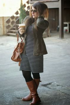 Stripped dress, olive jacket, black tights, brown boots, statement necklace