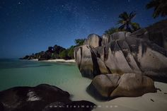 """A Night in Paradise - The tropical paradise of Anse Source d'Argent takes on a different, interesting look at night. The scene was beautifully lit with gentle moon light.  You're welcome to follow me on my <a href=""""https://www.facebook.com/erezmaromphotography"""">facebook page</a>, where you can get a first look at my images, as well as get all the info about my work, photo tours and other news. For prints and licensing, please contact me directly.  Canon 5D3  Samyang 14mm f/2.8 Anse Source…"""