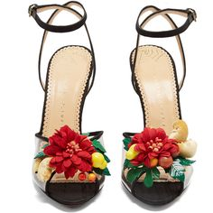 Charlotte Olympia Tropicana silk sandals (1.720 BRL) ❤ liked on Polyvore featuring shoes, sandals, heels, flower heels shoes, charlotte olympia shoes, black shoes, silk shoes and heart shoes
