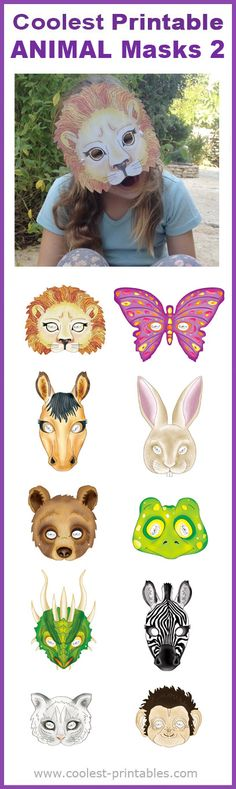 Coolest Printable Animal Masks 2 - Great for Last Minute Halloween costumes, Animal parties or afternoon fun.
