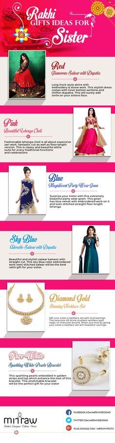Gifting Ideas to Sister on Rakhi [Infographic] Rakhi Gifts For Sister, Gifts For Your Sister, Sister Gifts, Raksha Bandhan Gifts, Pearl Bracelet, Sisters, Glamour, Infographics, Brother