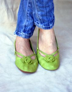 Green Alert - Handmade Leather ballet flat shoes (do they make them in faux leather?)