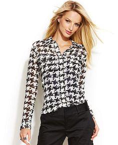 INC International Concepts Houndstooth-Print Long-Sleeve Shirt - Tops - Women - Macy's