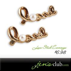 "Love Stud Earrings From Regal      Adorable earrings with faux pearl. Post-style backing. (1/2""L)  Product Number - JC1020"