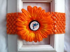 miami dolphins headband with removable flower clip
