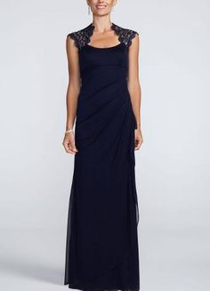 Katherine Boatman  katherineboatma  on Pinterest Mother of the Bride Dress David s Bridal Metallic Lace Cap Sleeve Long  Jersey Dress Style I like this style  but it is navy