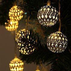 Solar String Lights 10 LED Globe Lanterns String Fairy Lights for Garden/Patio/ Home/ Wedding/Christmas Party (Warm Light)