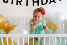 Fill the crib with balloons. 1 year birthday photography   one year old.