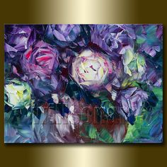 Floral Canvas Modern Flower Oil Painting Roses by willsonart, $95.00