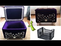Making bridal chest from plastic vegetable crate Diy Crafts Hacks, Diy Crafts For Gifts, Diy Home Crafts, Diy Gift Box, Diy Box, Vegetable Crates, Free Crochet Bag, Recycling, Plastic Crates