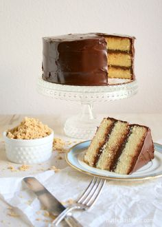 Classic Triple Layer Yellow Cake with Fudge Frosting | butterlustblog.com