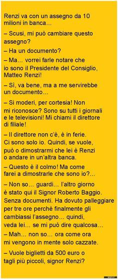 Renzi va con un assegno