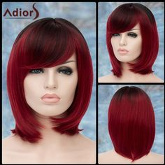 Adiors Short Ombre Oblique Bang Straight Bob Synthetic Wig ($17) ❤ liked on Polyvore featuring beauty products, haircare and hair styling tools