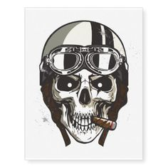 Halloween Scary Skull with White Biker Helmet Temporary Tattoos - unusual diy cyo customize special gift