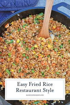 Easy Fried Rice- Restaurant Style Easy Fried Rice + Video - Restaurant Style Fried Rice in Minutes! - Easy Fried Rice is the best restaurant style fried rice you'll ever make! Just 15 minutes and a great way to clean out the vegetable drawer. Fried Rice Seasoning, Beef Fried Rice, Fried Rice With Egg, Making Fried Rice, Vegetable Fried Rice, Fried Vegetables, Hibachi Fried Rice, Healthy Fried Rice, Vegetarian Fried Rice
