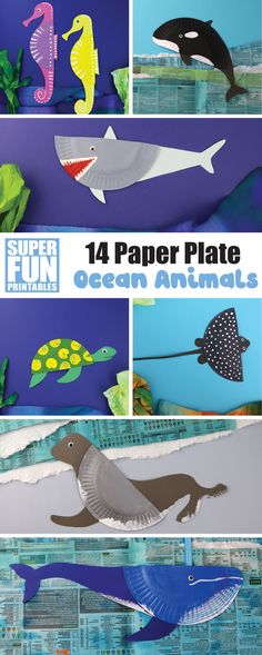 14 paper plate ocean animal crafts for kids – printable templates, instructions and fascinating facts about each unique sea creature #ocean #summer #oceananimals #kidscrafts #kidsactivities #paperplatecrafts #printablecrafts #thecrafttrain #superfunprintables Ocean Animal Crafts, Ocean Crafts, Animal Crafts For Kids, Easy Crafts For Kids, Summer Crafts, Kid Crafts, Kids Learning Activities, Summer Activities For Kids, Printable Crafts